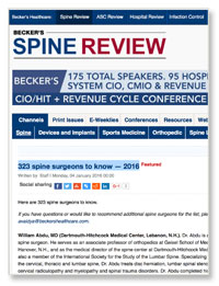 323 Spine Surgeons To Know — 2016